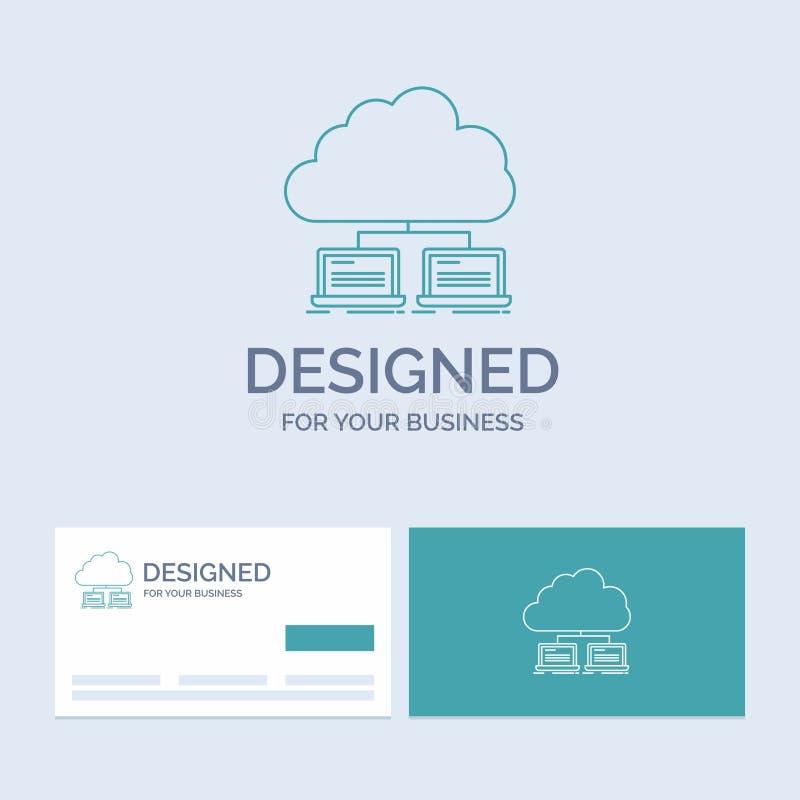moln nätverk, server, internet, dataaffär Logo Line Icon Symbol för din affär Turkosaff?rskort med m?rkeslogo vektor illustrationer
