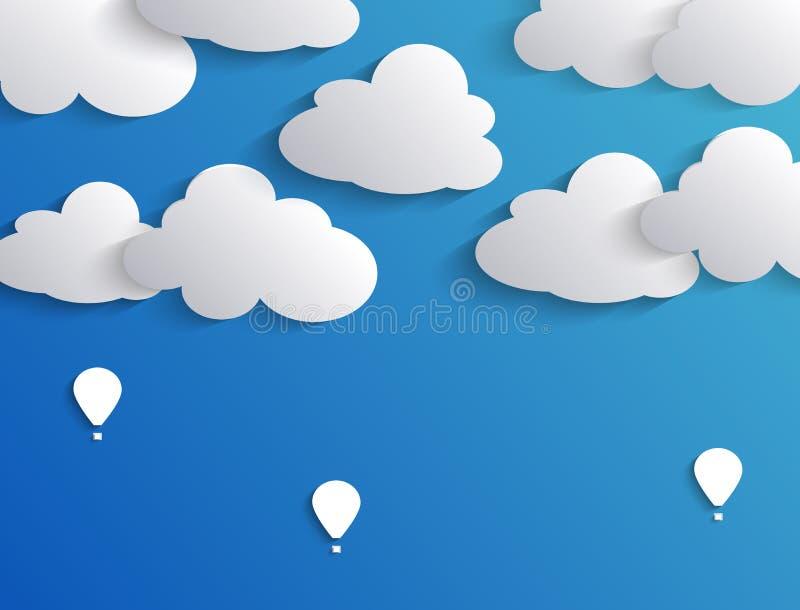 Moln och luftballong i blå himmel royaltyfri illustrationer