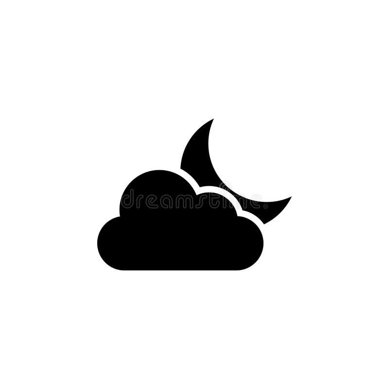 Moln- och månesymbol Beståndsdel av väderillustrationen Tecknet och symboler kan användas för rengöringsduken, logoen, den mobila stock illustrationer