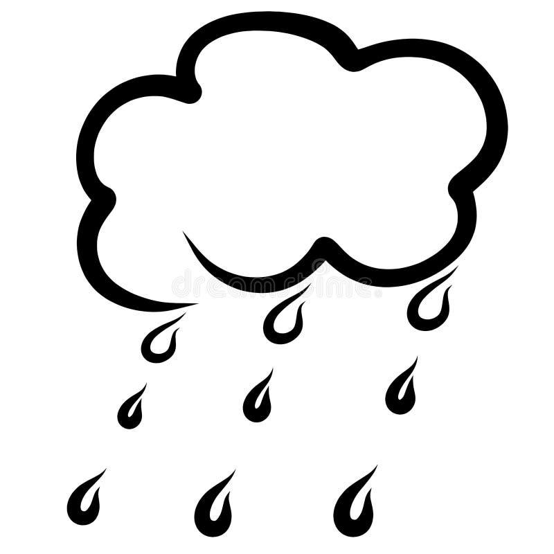 Moln och regndroppar, regnigt väder, svart skissar royaltyfri illustrationer