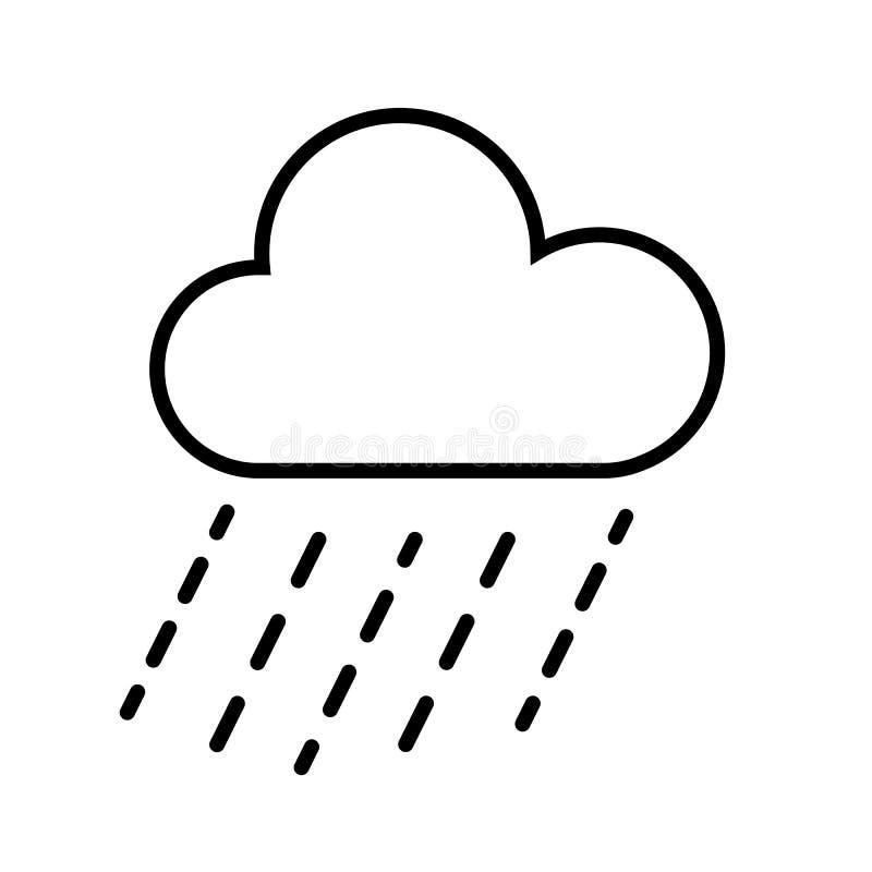 Moln- och regnsymbolsvektor royaltyfri illustrationer