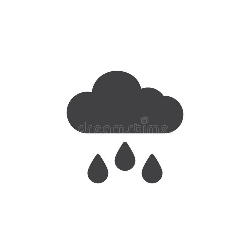 Moln- och regnvektorsymbol royaltyfri illustrationer