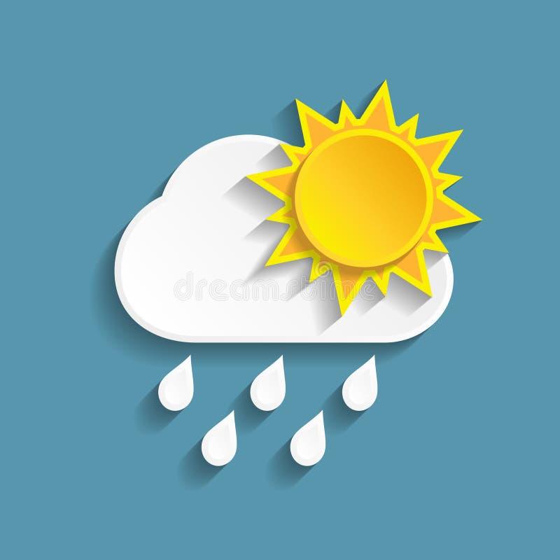 Moln och sol för vitbok regnigt stock illustrationer