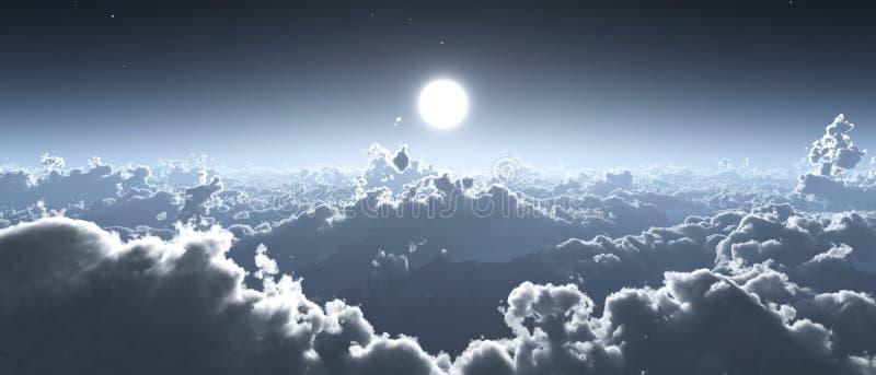 Moln och sol, härlig himmel med moln stock illustrationer