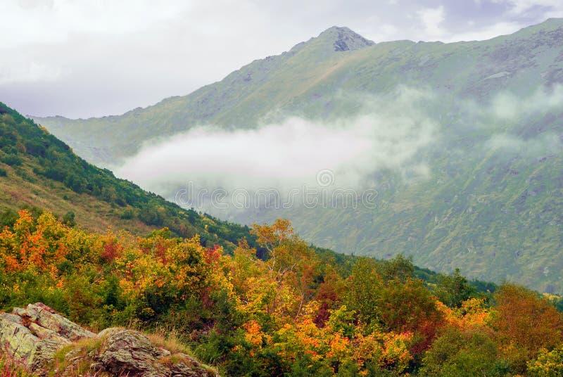Moln på en bergssida arkivbilder