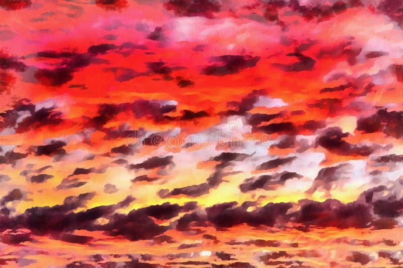 Moln på färgrik målning för solnedgånghimmel royaltyfri illustrationer