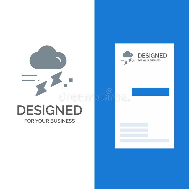 Moln, regn, nederbörd, regnigt, åska Grey Logo Design och mall för affärskort royaltyfri illustrationer