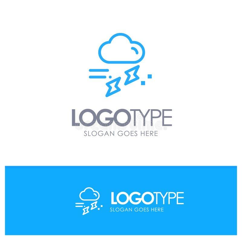Moln regn, nederbörd som är regnig, blå översikt Logo Place för åska för Tagline stock illustrationer