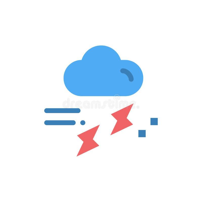 Moln regn, nederbörd som är regnig, plan färgsymbol för åska Mall för vektorsymbolsbaner royaltyfri illustrationer