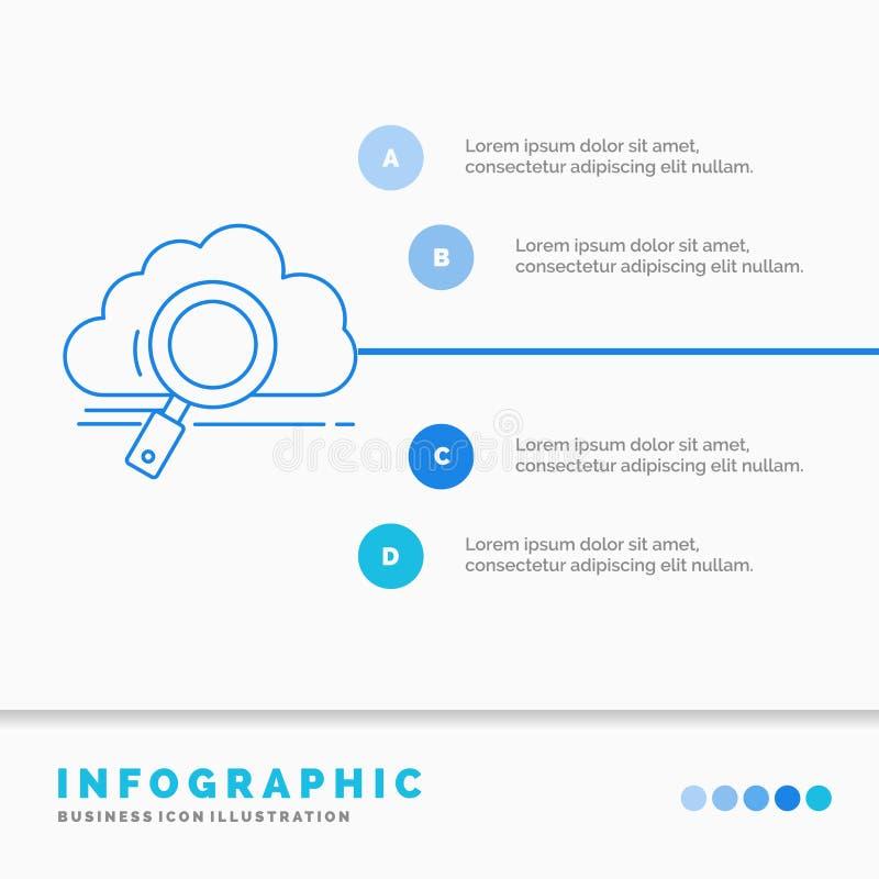 moln, sökande, lagring, teknologi, beräknande Infographics mall för Website och presentation Linje infographic stil f?r bl? symbo royaltyfri illustrationer
