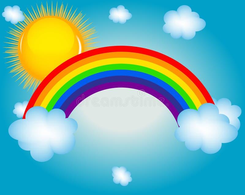 Moln sol, bakgrund för regnbågevektorillustration royaltyfri illustrationer