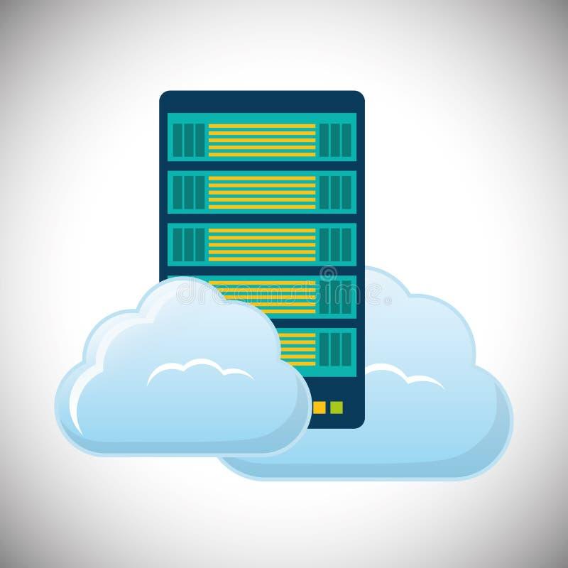 moln som är värd datorhallsymbolen stock illustrationer
