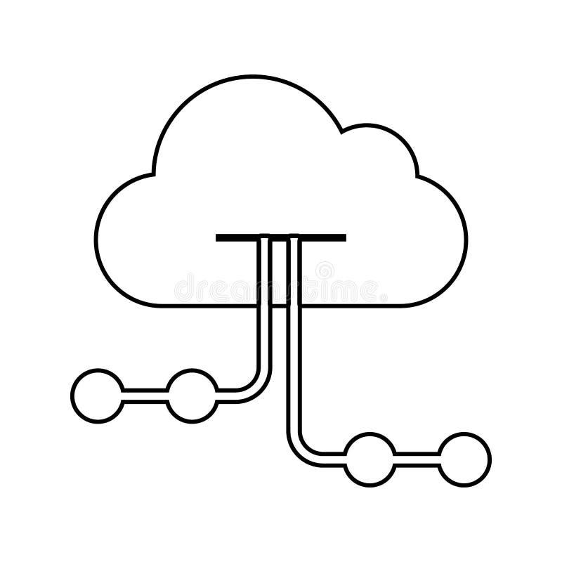 moln som är värd symbolen Beståndsdel av cybersäkerhet för mobilt begrepp och rengöringsdukappssymbol Tunn linje symbol för websi royaltyfri illustrationer