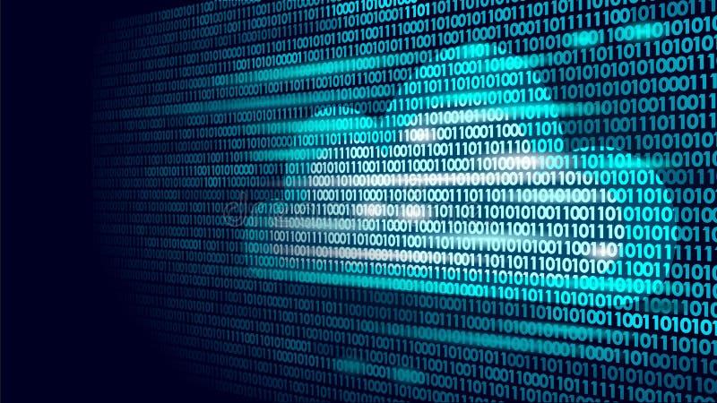 Moln som beräknar nummer för binär kod för online-lagring Stor teknologi för affär för internet för information om data framtida  royaltyfri illustrationer