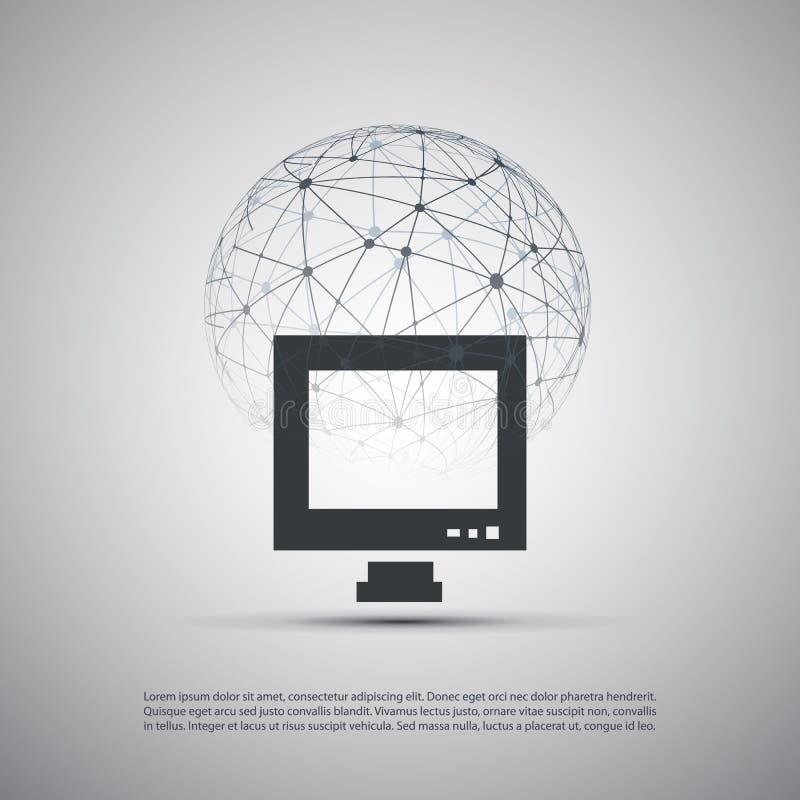 Moln som beräknar och knyter kontakt begreppet, globala anslutningar för Digitalt nätverk, teknologibakgrund, idérik designmall m stock illustrationer