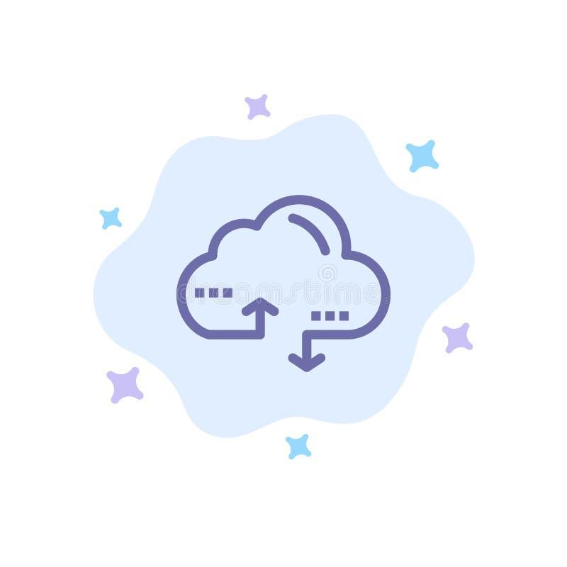 Moln som beräknar, sammanlänkning, blå symbol för data på abstrakt molnbakgrund vektor illustrationer