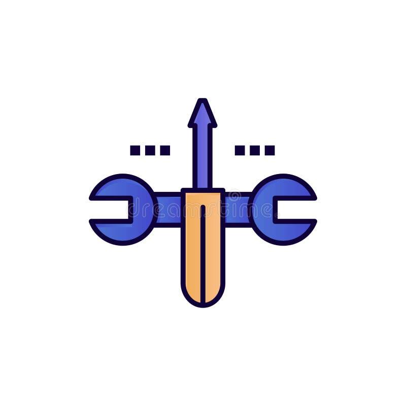 Moln som beräknar, skruvmejsel som bearbetar den plana färgsymbolen Mall för vektorsymbolsbaner vektor illustrationer