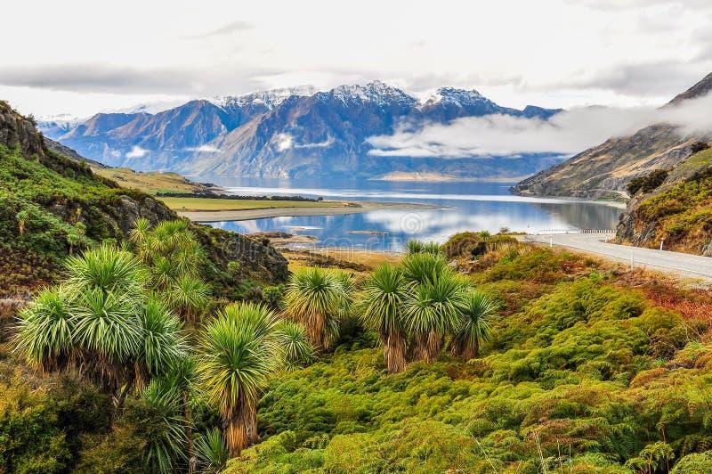 Moln som lågt ligger nära Wanaka i sydliga sjöar, Nya Zeeland royaltyfria bilder