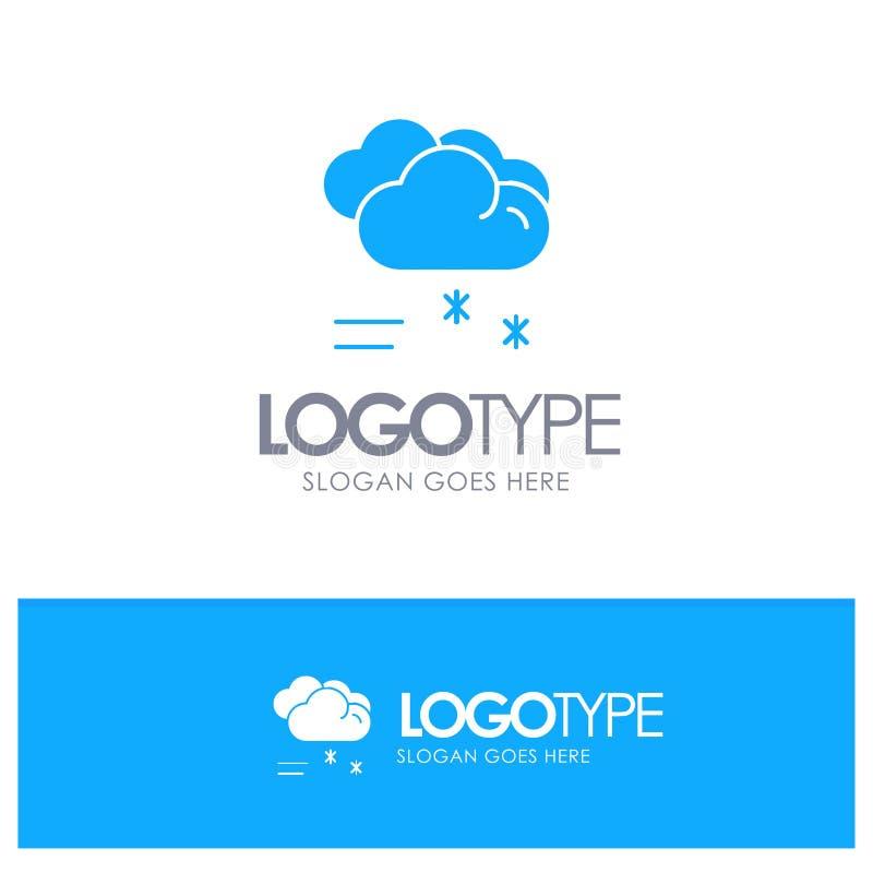 Moln som regnar, förutsett och att regna, blå fast logo för regnigt väder med stället för tagline stock illustrationer