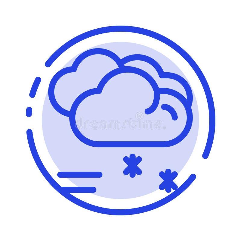 Moln som regnar, förutsett och att regna, blå prickig linje linje symbol för regnigt väder royaltyfri illustrationer