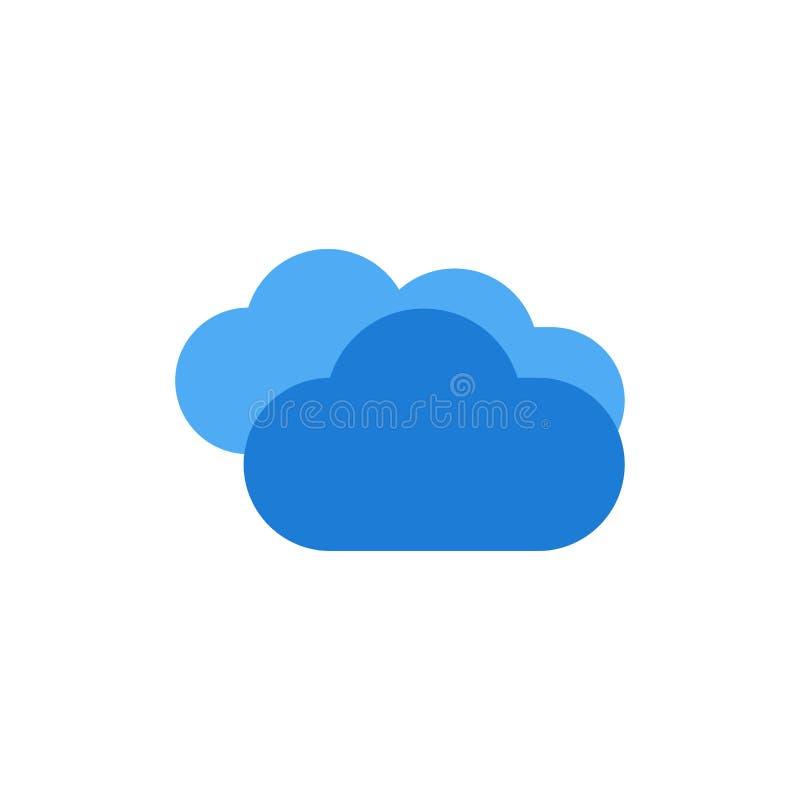 Moln som regnar, förutsett och att regna, plan färgsymbol för regnigt väder Mall för vektorsymbolsbaner royaltyfri illustrationer