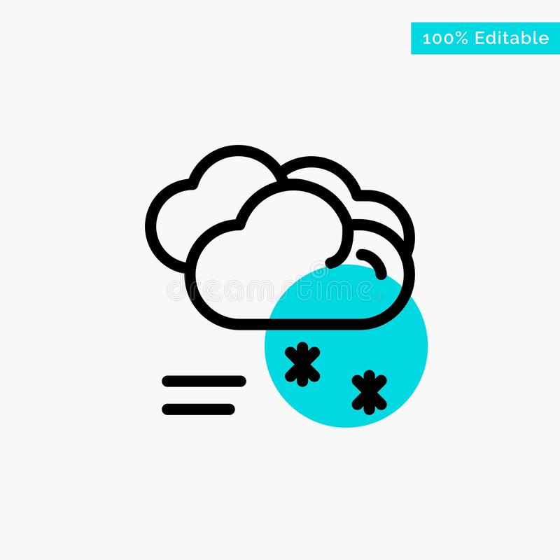 Moln som regnar, förutsett och att regna, regnig symbol för vektor för punkt för cirkel för väderturkosviktig stock illustrationer
