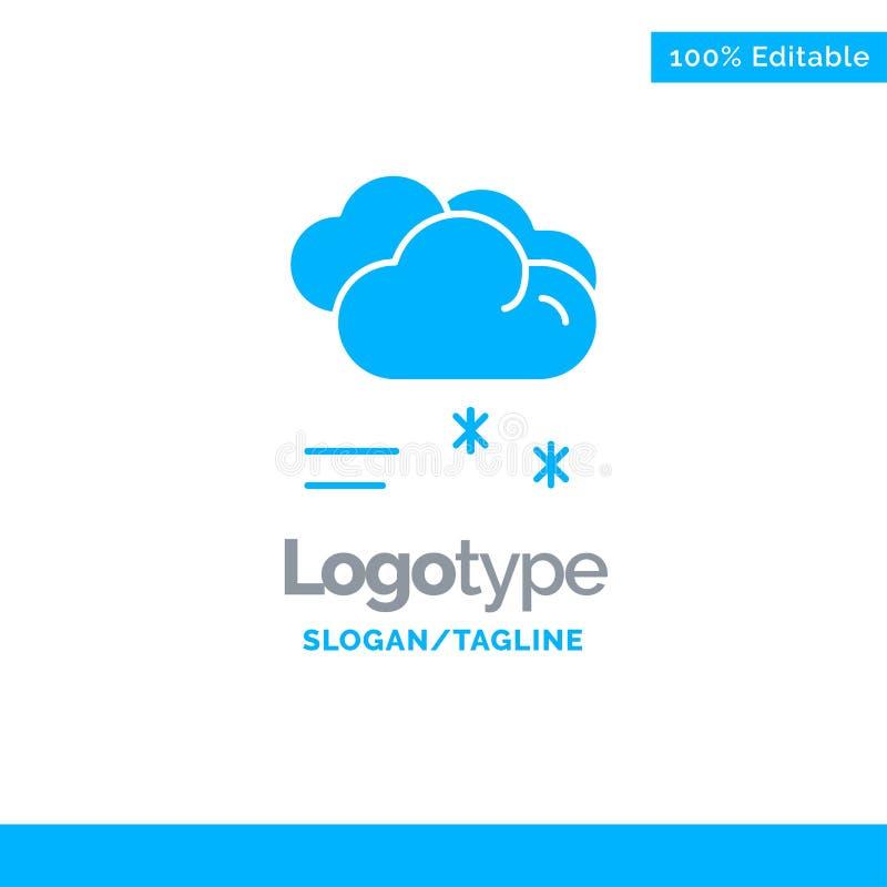 Moln som regnar, förutsett och att regna, regnigt väder blåa fasta Logo Template St?lle f?r Tagline royaltyfri illustrationer