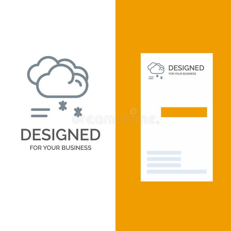 Moln som regnar, förutsett, regna, regnigt väder Grey Logo Design och mall för affärskort vektor illustrationer