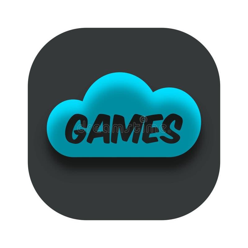 Moln som spelar logo för App-symbolsaffär stock illustrationer