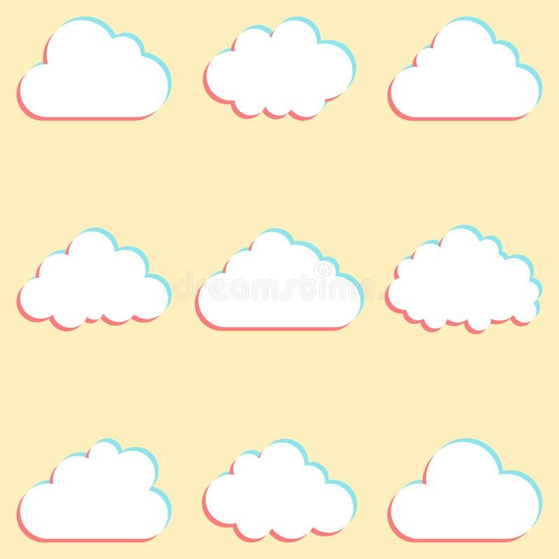 Moln ställde in med kulöra kanter och symboler för molnet som beräknar för stock illustrationer