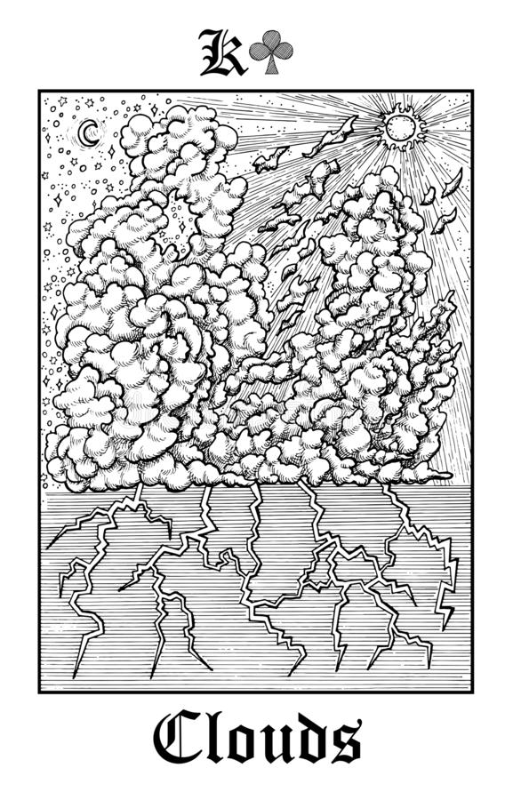 Moln Tarokkort från däck för orakel för vektorLenormand gotiskt gåtor stock illustrationer