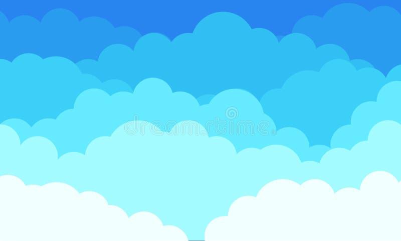 Molnbakgrund, blå himmel för tecknad film med den vita molnmodellen Bakgrund för grafisk design för vektor abstrakt plan stock illustrationer