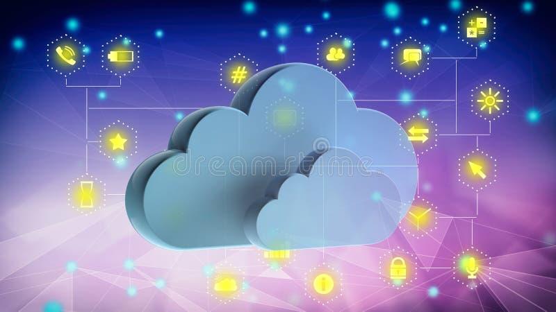 Molnberäkning och mobila apps Blåa moln på abstrakt techbakgrund illustrationn 3D stock illustrationer