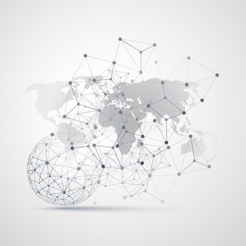 Molnberäkning och nätverk med världskartan - abstrakta globala anslutningar för Digitalt nätverk, teknologibegreppsbakgrund vektor illustrationer