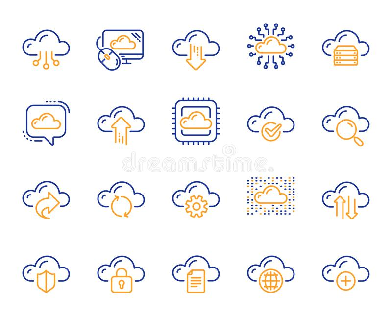 Molndata och teknologilinje symboler Ställ in av varande värd beräknande data och mapplagring vektor vektor illustrationer