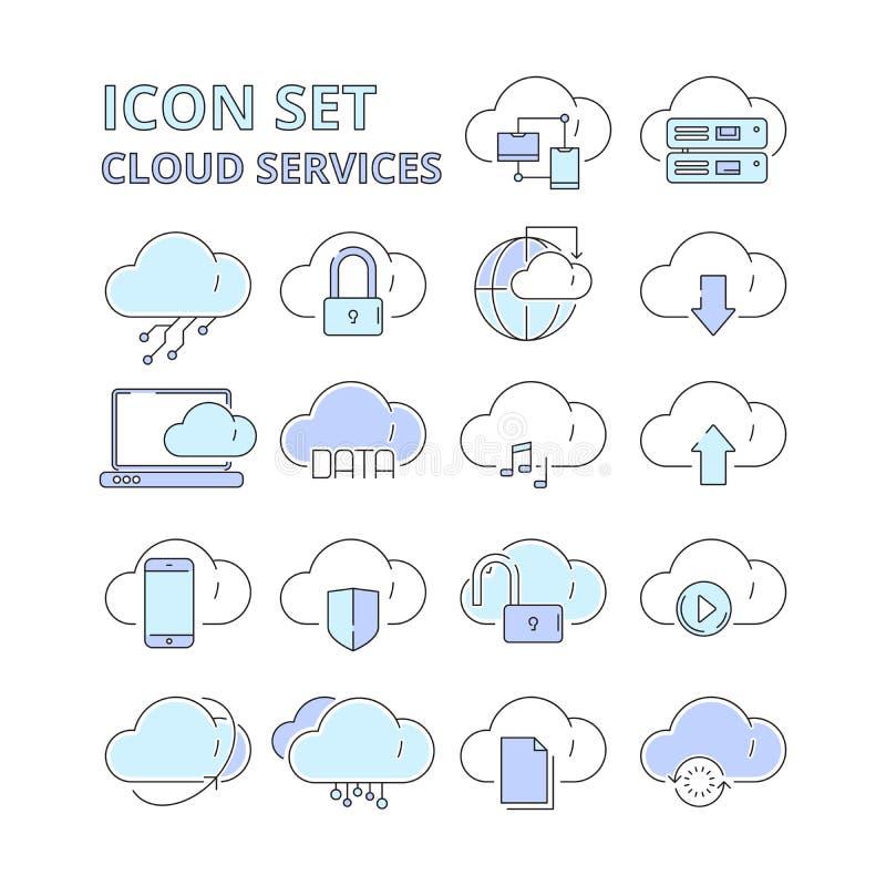 Molndatasymboler Symboler för vektor för system för plattform för global för anslutningsinternetonline-säker teknologi säkerhet f stock illustrationer