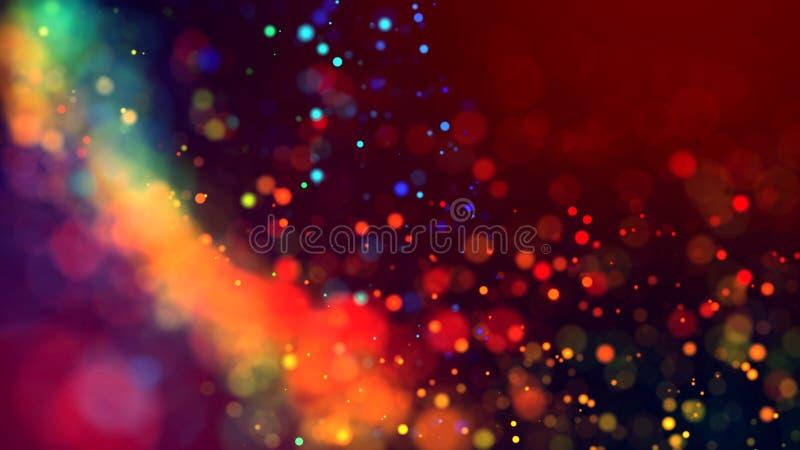 Molnet av mångfärgade partiklar i luften som mousserar på en mörk bakgrund med djup av fältet H?rligt bokehljus arkivfoton