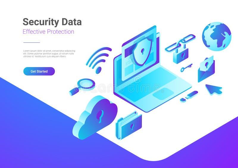 Molnet för bärbara datorn för Antivirus för säkerhetsdataskydd är royaltyfri illustrationer