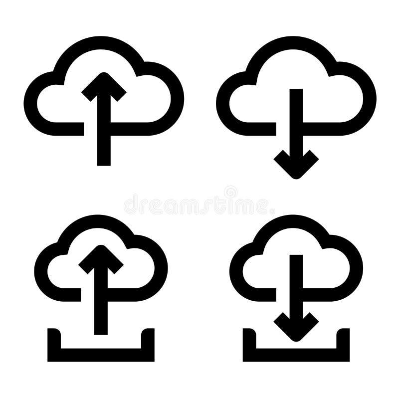 Molnet laddar upp och nedladdar symbolsuppsättningen royaltyfri illustrationer