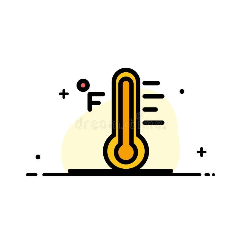 Molnet ljust som var regnigt, solen, plan linje för temperaturaffär, fyllde mallen för symbolsvektorbanret royaltyfri illustrationer