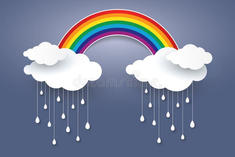 Molnet och regnbågen i papperskonst för blå himmel utformar Conc regnig säsong stock illustrationer