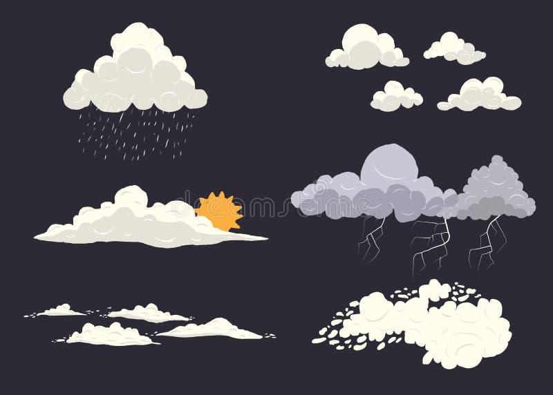 Molnet skriver vektoruppsättningen på mörk bakgrund med olika naturtillstånd Storm cloudscape, sol, regn med överkanten royaltyfri illustrationer