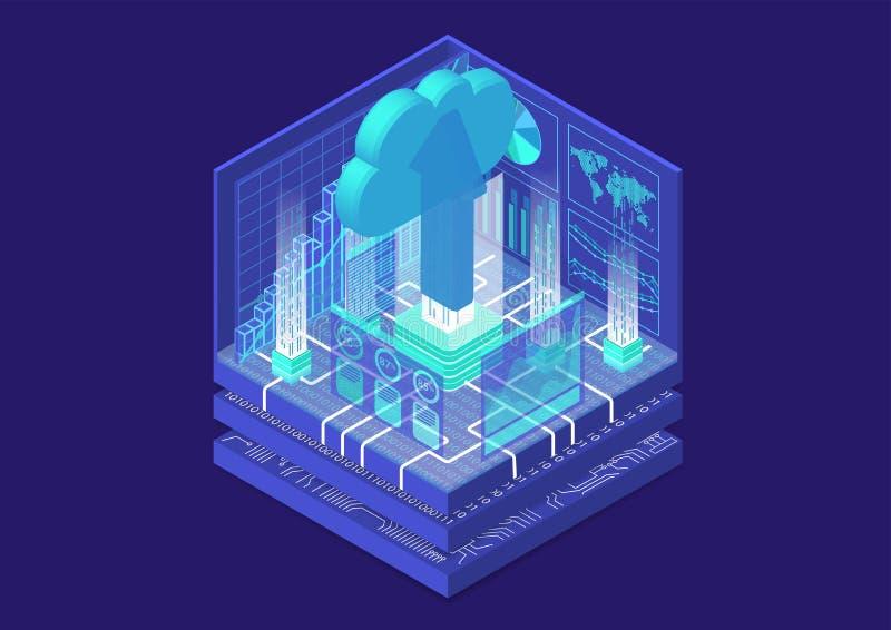 Molnflyttningsbegrepp med symbol av att sväva molnet och att ladda upp pilen som isometrisk illustration för vektor 3d stock illustrationer