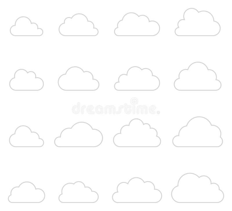 Molnformsamling, tunna linjer symboler vektor illustrationer