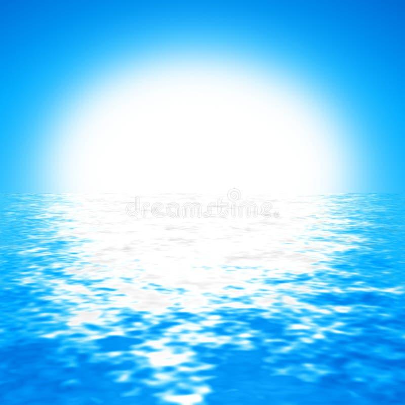 Molnfri bakgrund för blå himmel med den ljusa solen och kristallklart vatten vektor illustrationer