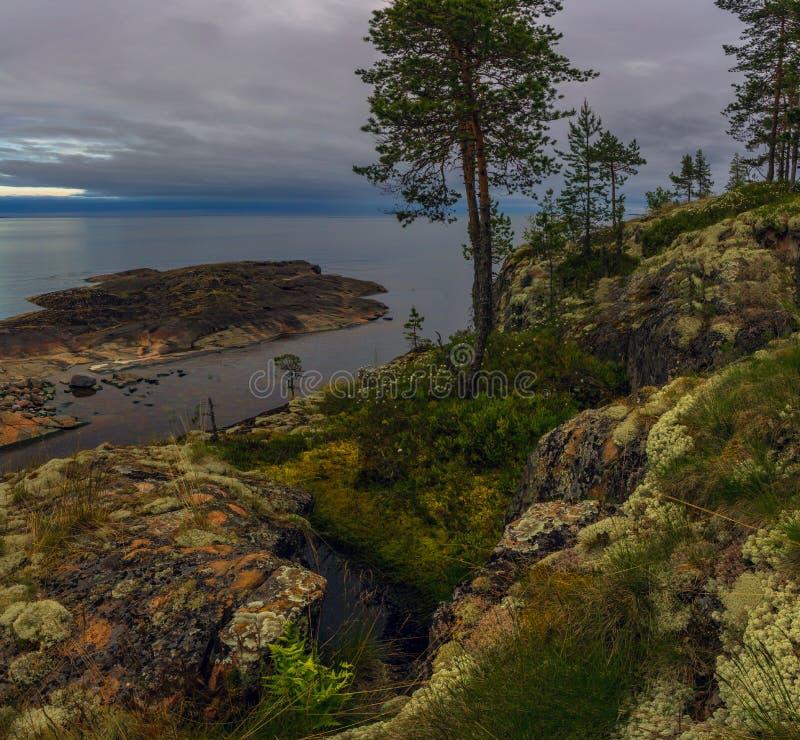 Molnig afton på Lake Ladoga royaltyfri foto