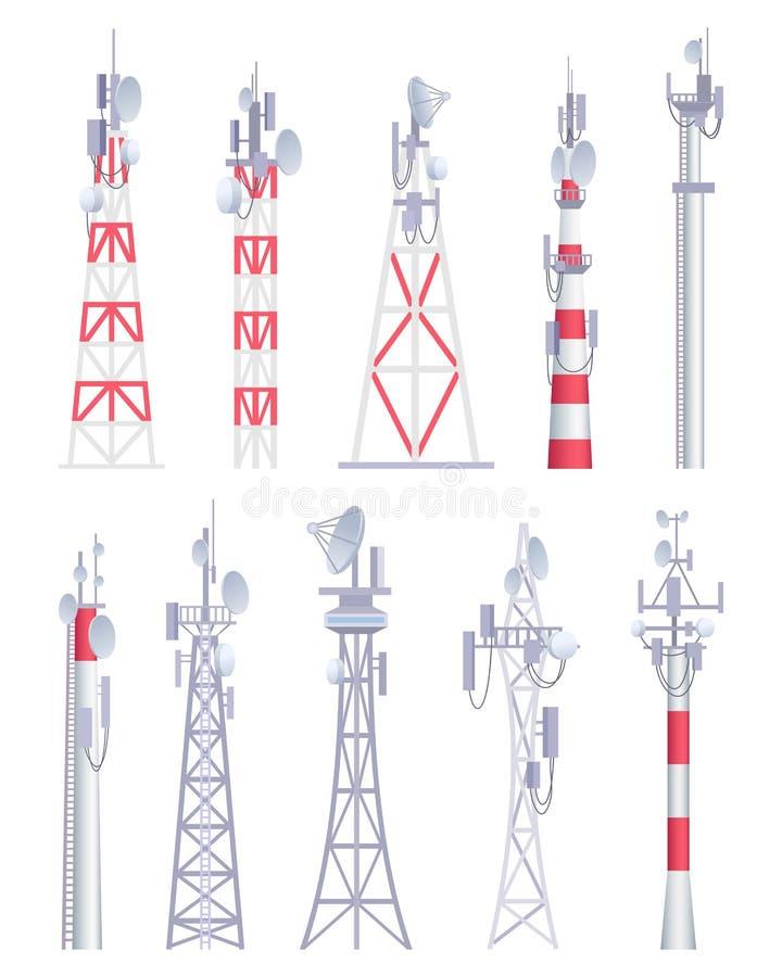 molnig by för kommunikationsskytorn Cell- sända bilder för vektor för konstruktion för antena för tvradioradio satellit- i teckna stock illustrationer