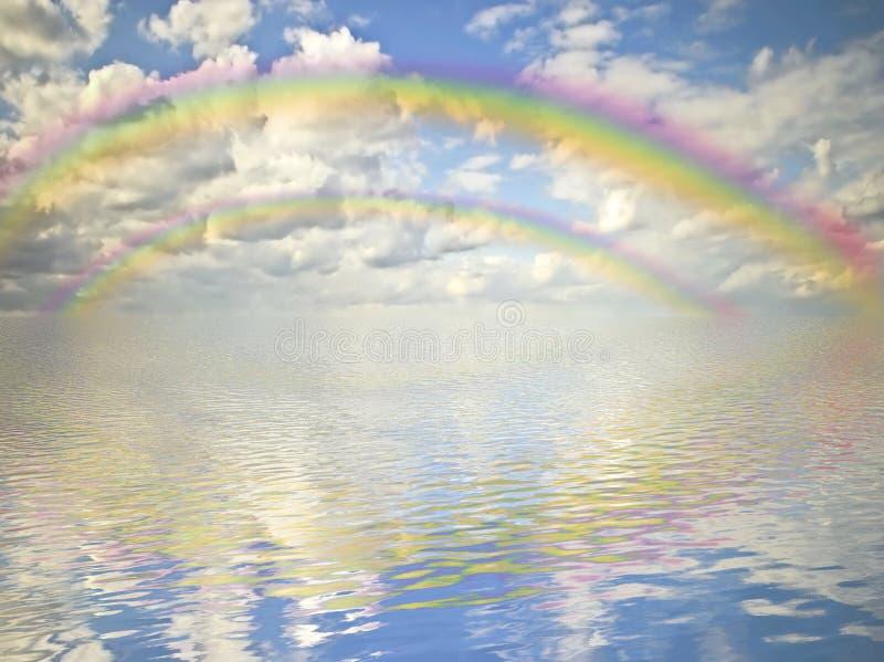 molnig havregnbågesky royaltyfri bild