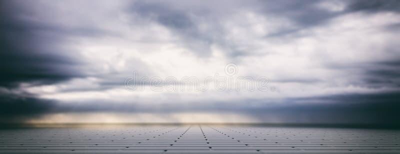 Molnig himmel för grå färger över trottoar för konkreta tegelplattor, baner illustration 3d vektor illustrationer