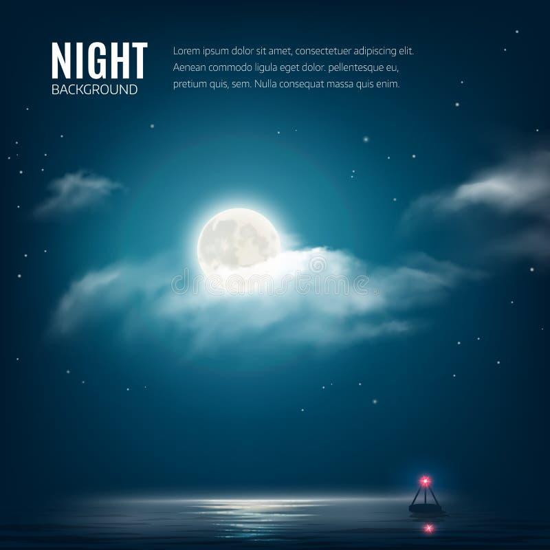 Molnig himmel för nattnaturbakgrund med stjärnor, månen och det lugna havet med fyren royaltyfri illustrationer